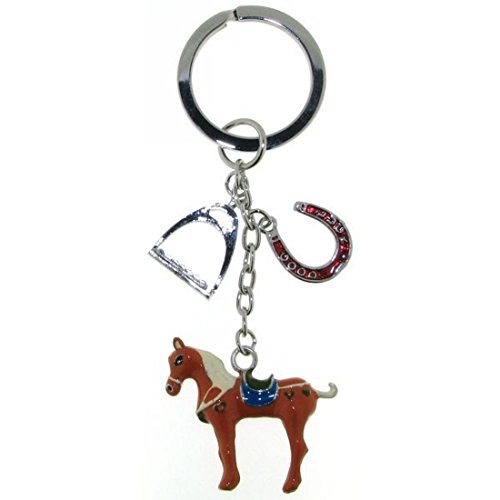 Derby Schlüsselanhänger mit Pferd 3-teilig Metall mit Lack 02418