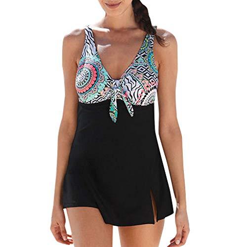 AIni Sale Damen Bikini,Sexy Bademode Sommer Elegant Große Größen Druck Bogen Tankini Bikini Bademode Badeanzug Push-Up Tankinis Bikini Set Strandkleidung Badeanzüge (M,Schwarz)