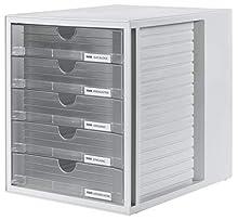 HAN 1450-63, Cassettiera System-Box, design attrattivo ed innovativo con 5 cassetti chiusi, grigio chiaro/traslucente