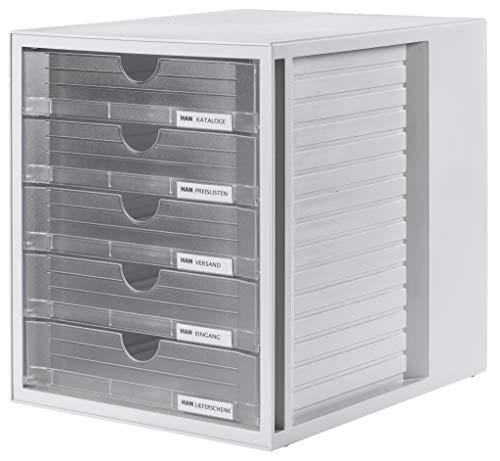 HAN Schubladenbox SYSTEMBOX 1450-63 in Lichtgrau/Transluzent-Klar - Ordnungsbox DIN A4 - Aufbewahrungsbox mit geschlossenen Schubladen