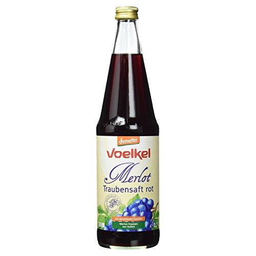 100% Traubensaft (Voelkel Bio Traubensaft Merlot, rot Mehrweg, 700 ml)
