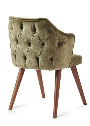 SOMESIT London Design Massivholzstuhl/Armlehnen Stuhl Vintage Sesselstuhl mit Raute Muster/Retro Esszimmerstuhl Küchenstuhl mit Polsterung/Wohnzimmerstuhl mit Stoffbezug (Olive-Grün) fertig montiert.