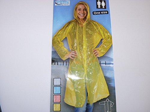 5 x Regenponcho Regenmantel bunt mit Kapuze / wasserdicht / mehrere Farben - Notfallponcho - Regencape