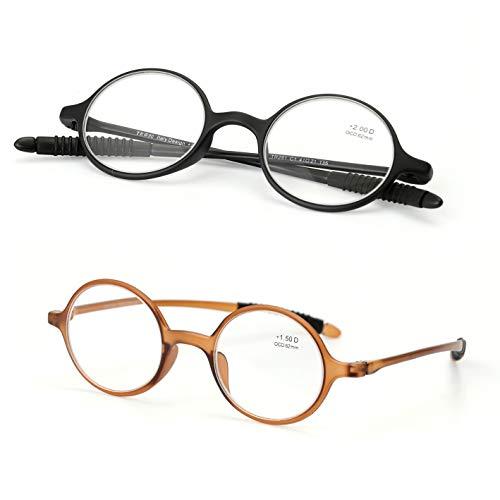 Ultraleichte Brille Alte Lesebrille Runde Lesebrille Komfortable Weitsichtspiegel (2 Paar),3.0 - 3 Paar Lesebrille