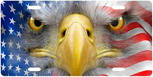BNHF American Eagle Face in Flag License Plate Novelty Tag from Redeye Laserworks - American Flag License Plate