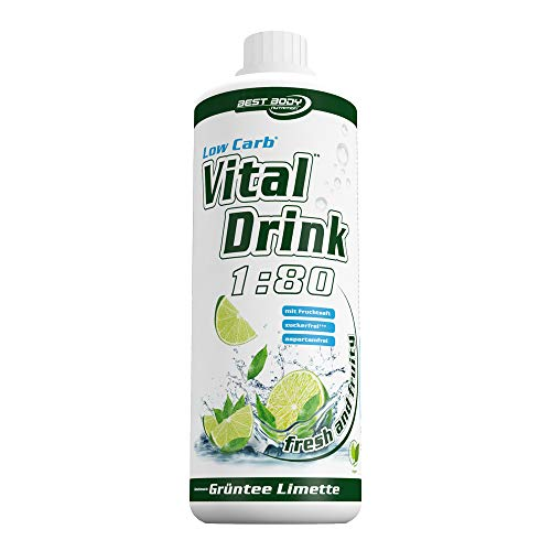 Best Body Nutrition Vital Drink Grüntee-Limette, Getränkekonzentrat, 1000 ml Flasche -