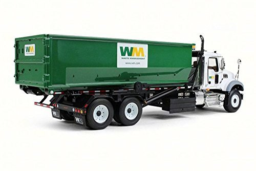 first-gear-mackgranite-with-tub-style-roll-off-container-white-green-10-4050-1-34-scale-diecast-mode