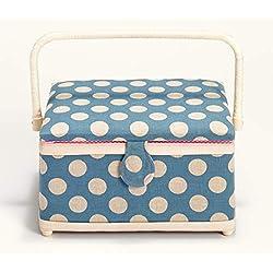 Prym–Costurero con Bordes de Color Rosa y Blanco de Lunares, Lino, Talla Mediana, Color Azul