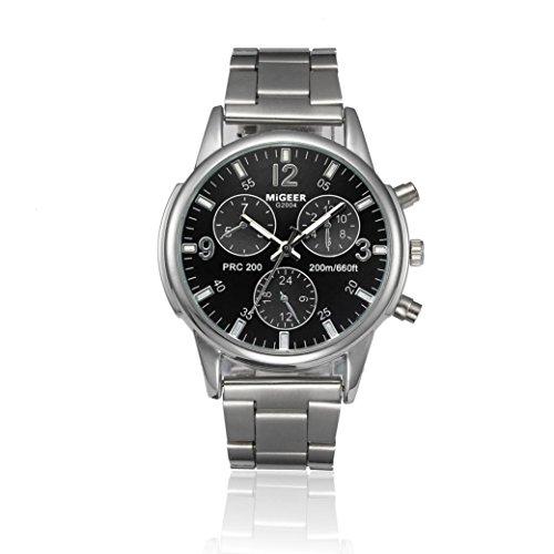 UNNSEAN Uhr,Mode-Mann-Kristall-Edelstahl-analoge Quarz-Armbanduhr Multifunktional Chronograph Edelstahl Geschäft Mode Herren Uhr (Schwarz)