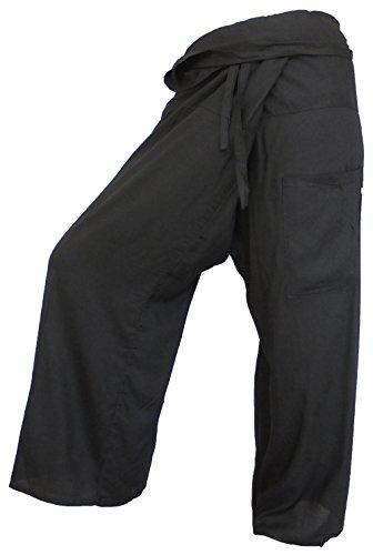 by soljo - Fisherman Pantalon pêcheur Wrap Yoga Sport Fisherpant coton mince Thaïlande Asie 29 couleurs (noire)