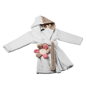 stilana 3461214 HAPPY - kuscheliger Kinderbademantel Größe, 98, Bademantel für Kinder in vanille/creme mit Blume