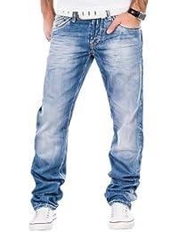 Cipo & Baxx Herren Jeans Verwaschen Ziernähte Clubwear Vintage Chino Hose Blau