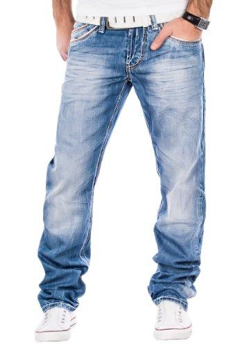 Cipo & Baxx Herren Jeans Verwaschen Ziernähte Clubwear Vintage Chino Hose Blau (W38/L34)