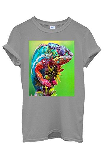 Chameleon Colourful Cool Men Women Damen Herren Unisex Top T Shirt Grau