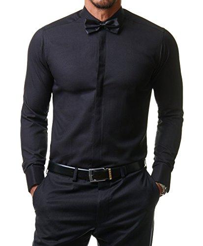 Paco Romano Herren Hemd Smoking Anzug Klassik Business Langarm Fliege Manschettenknöpfe Bügelleicht Hochzeit Premium Slim Fit Shirt PR6615, Farbe:Schwarz, Größe:39/M