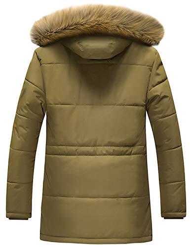 GLESTORE Doudoune Homme Manteaux Hiver Chaud Parka épais Veste Fourrure avec Capuche Amovible Militaire Blousons T1-Kaki XS
