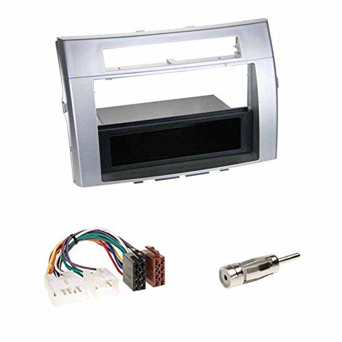 Einbauset: Autoradio Doppel-DIN 2-DIN Blende Einbaurahmen Radioblende + Fach Silber + ISO Radio Adapter Radioadapter Radioanschlusskabel + Antennenadapter für Toyota Corolla Verso (E12) 2004-2009
