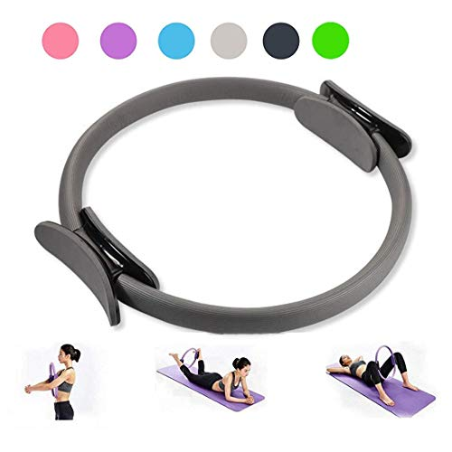 IOFESINK BEAUTY Pilates Magic Ring Double Handle Exercise Fitness Yoga Circle Thigh Arm, Abs Slimming Shape Physical Therapy Tool (Color : Gray)