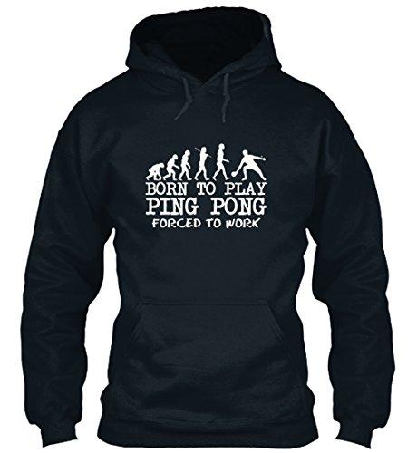 (Bequemer Hoodie Damen / Herren / Unisex von Teespring | Originelles Outfit für jeden Anlass und lustige Geschenksidee - BORN TO PLAY PING PONG)