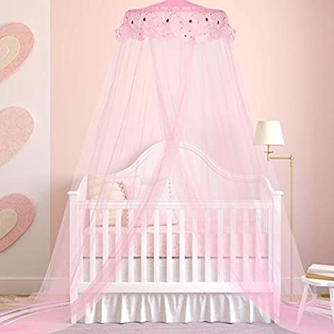 Jeteven Princess Mosquito Net Lace Dome Bed Canopy for Children Fly Insect Protection Indoor/Outdoor Decorative Height 240cm/94.5in Pink