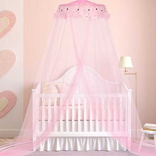 Jeteven Princess Mosquito Net Lace Dome Bed Canopy for Children Fly Insect Protection Indoor/Outdoor Decorative Height 240cm/94.5in Pink & Bed Canopies for Children: Amazon.co.uk