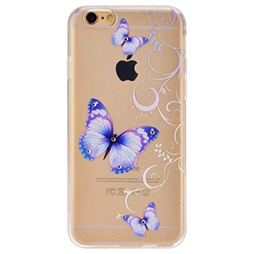 iPhone 6S Hülle,iPhone 6 Hülle,SMART LEGEND iPhone 6 6S 4.7 Zoll Weich TPU Silikon Case Schutzhülle Crystal Case Durchsichtig, Luxus Glitzer Glanz Kristall Crystal Transparent Silikon Schutzhülle Ultr Lila Schmetterling