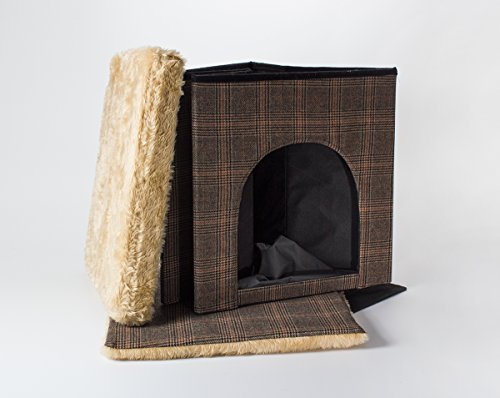 Dog cave / cat cave and seat, tweed look, 50x50x50 cm, indoor 3