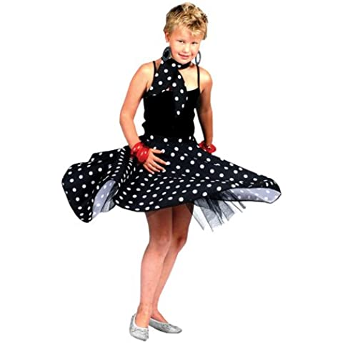 Disfraz de niña con falda de lunares de Rock 'n' Roll de los años 60