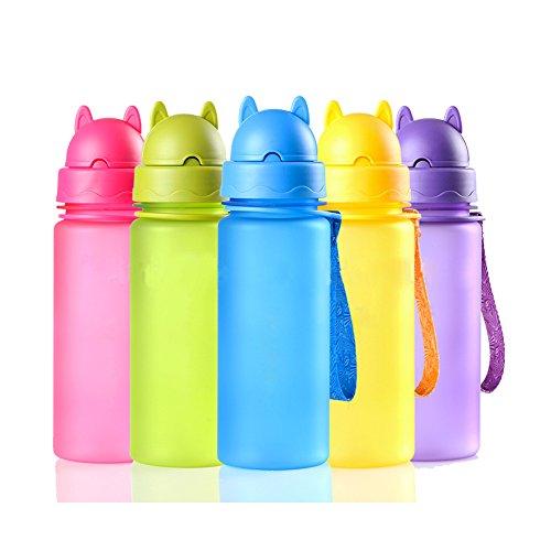 Botella de Agua Niños y Niñas 400 ml Sin BPA Botella de Agua Deporte con Pajita y correa para Infantil, Escuela, Corrida, Senderismo y Actividades al Aire(Verde)