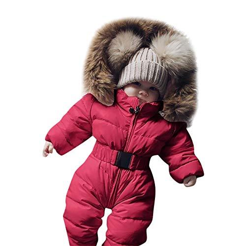 (TPulling Baby Mädchen Junge Kleidung Winter-Säuglingsbaby-Mädchen-Spielanzug-Jacke mit Kapuze Overall Warmer starker Mantel-Outfit)