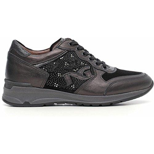 Sneakers Nero Giardini a616054d Stringate basse con suola zeppata Donna Nero autunno inverno 2017, EU 37