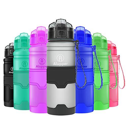 Alupper Sport Trinkflasche-Tritan Wasserflasche-500ml&1000ml-BPA-Frei-Ideale Sportflasche-Schnelle Wasserdurchfluss,Flip Top,öffnet Sich mit 1-Click