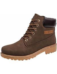 Landfox Botas de tobillo de los hombres de piel de Martin caliente botas zapatos