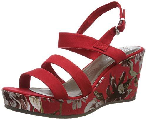 MARCO TOZZI 2-2-28357-22, Sandali con Cinturino alla Caviglia Donna, Rosso (Red Comb 597), 38 EU