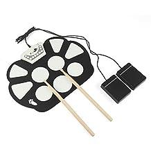 LeaningTech® RUD003 7 Pads MIDI Electric Roll Up Drum Set Plegable silicona mesa rodillo tambor música instrumentos de mano, batería / USB accionado, con metrónomo y altavoz incorporado, AUX in/out, pedales de bombo, registro, acompañamiento de la práctica