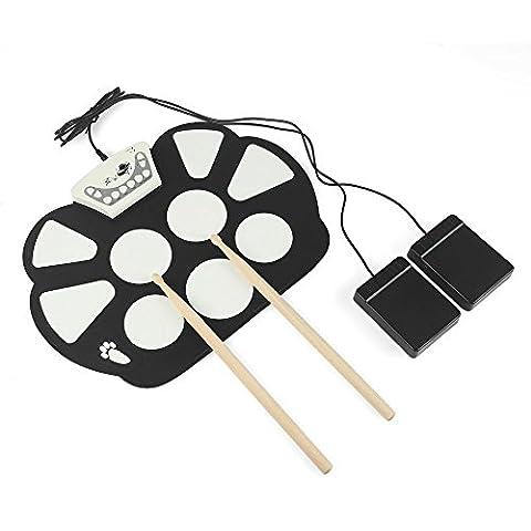 LeaningTech® RUD003 7 Pads MIDI Electric Roll Up Drum Set/ Pliable silicium Table main rouleau tambour Instruments de musique, batterie / USB alimenté, avec intégré de métronome, AUX in/out, Pedales, dossier, accompagnement de la pratique