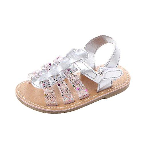 Pour 0-18 mois Bébé,Transer ® Joli bébé fille sandales anti-dérapant chaussures à semelle souple (12 ~ 18 Mois, Argent)