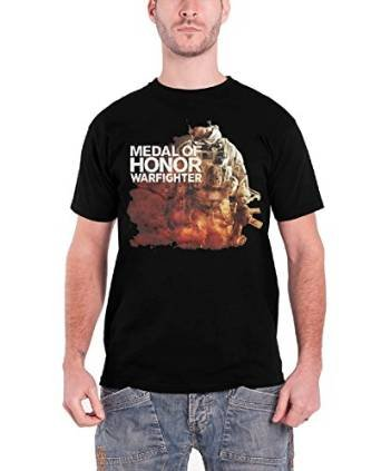 Medal Of Honor Herren T Shirt Schwarz War fighter Soldier band logo offiziell schwarz