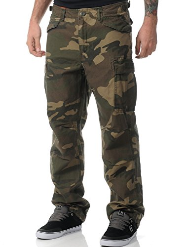 Pantaloni Con Tasconi West Coast Choppers Industrial Stonewashed Camo (S , Verde)