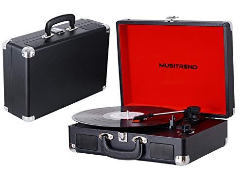 MUSITREND Tourne Disque, Platine Vinyle Rétro Portable à 3 Vitesses (33/45/78) avec 2...