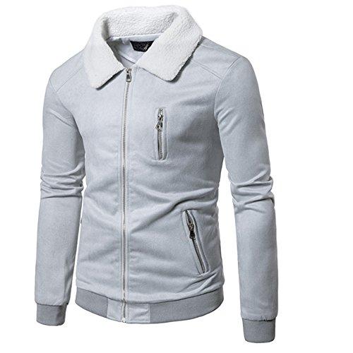 Man's Lambs Wool Collar Suede Design Leisure Fashion Jacket Coat (8 grau,L) (Kik Jeans)