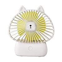 SUREH Mini Handheld Fan Rechargeable Lightweight Fan Portable 1200mA Personal USB Fan with 3 Speeds Internal Light Cooling for Traveling,Fishing,Camping