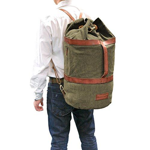 DRAKENSBERG Kimberley Duffel Bag, sac marin, sac de voyage, bagage à main, artisanat, toile, cuir de buffle, expédition, aventure, vintage, sable, kaki, marron vert