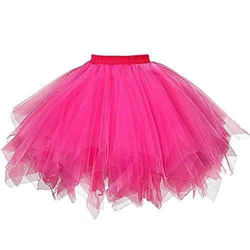 VEMOW Tutu Damenrock Cosplay Tüllrock 50er Kurz Ballet Tanzkleid Unterkleid Crinoline Petticoat Crinoline für Rockabilly Kleid Partykleder (Hot pink, XL)