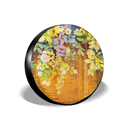 ErwangGo Tire Cover Wheel Covers,Soft Colored Spring Flowers and Leaves On Misty Retro Background Nature Art,for SUV Truck Camper Travel Trailer Accessories(14,15,16,17 Inch) 16 Misty Leaf