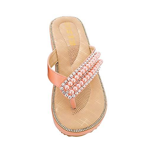 Damen Rutschfest Böhmen Sandalen T-Strap Lässig Flip Flops Flache mit Glitzer Perlen (Rosa, 37 EU) ()