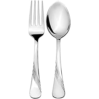 Solimo 6 piece Stainless Steel Table Spoon & Fork Set, Waves (Contains: 3 Table Spoons, 3 Forks)