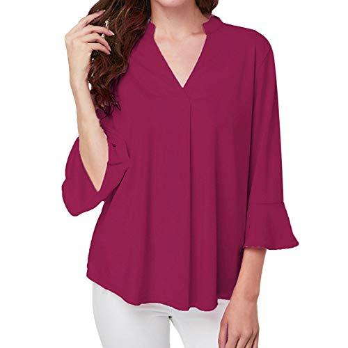 Wie Sie Lotus Notes Verwenden (Frauen Shirt Top Jessboy Women V-Neck Solid Plus Size Lotus leaf sleeve Blouse Easy Top Tunic Shirt V-Ausschnitt Ruffle Sleeve Loose Shirt Top)