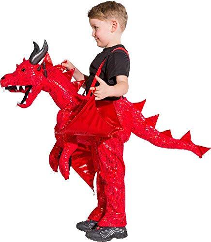Drache Kostüm Kinder Roter - Roter Drache Huckepack Kostüm für Kinder - 3 bis 5 Jahre - Drachenkostüm zum Hineinsteigen Reiten Ritterspiele Burgfest Mittelalter Party
