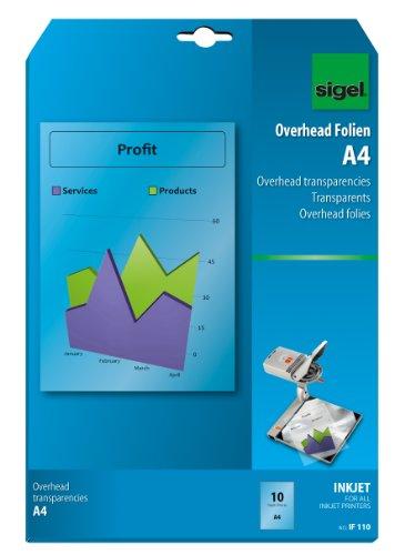 Sigel IF110 OHP-Folien/Overhead-Folien für InkJet/Tintenstrahldrucker A4, 10 Blatt